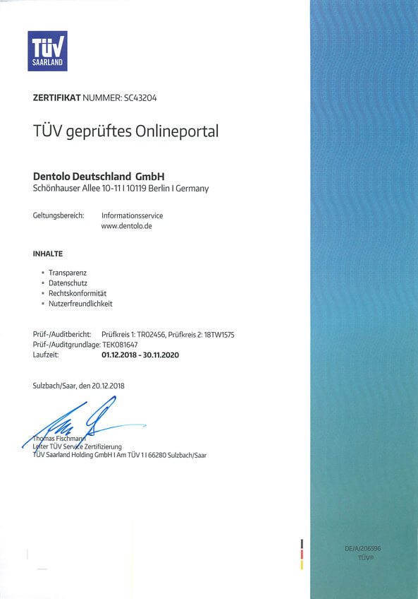 Tuv certification dentolo